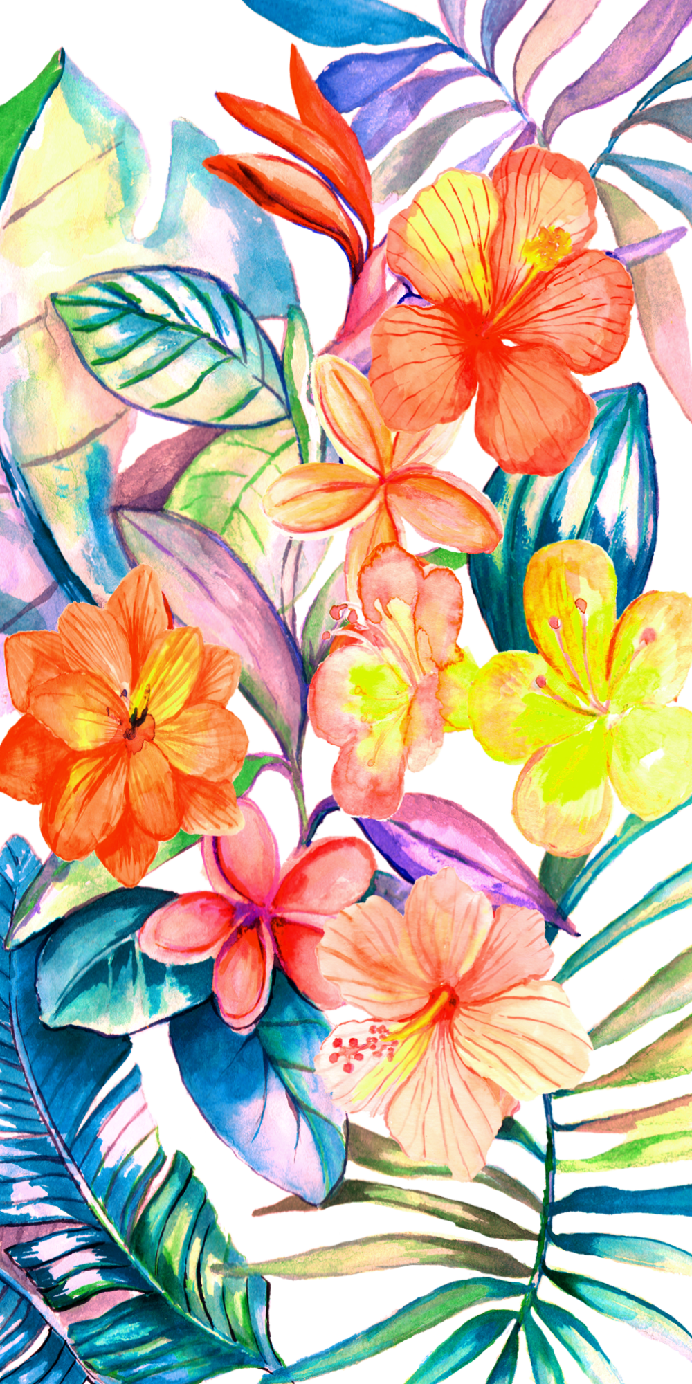 Tropical Bright Floral Wallpaper