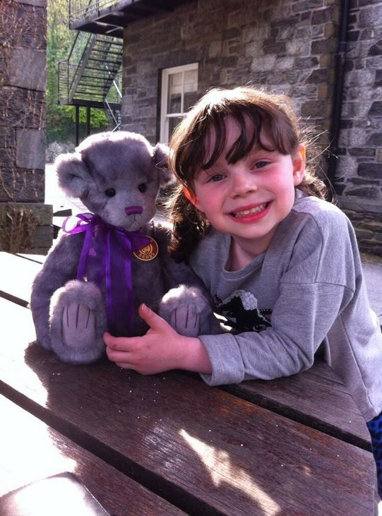 'My little girl with one of her bears she got on a day out in Betws Y Coed, she loves them all so much' says Charlie Bear collector Jen Roberts.