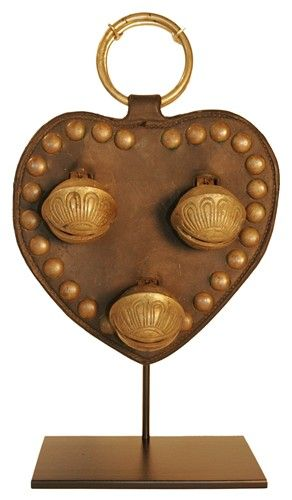 Large Vintage Leather Heart with Large Brass Sleigh Bells on Museum Mount Base