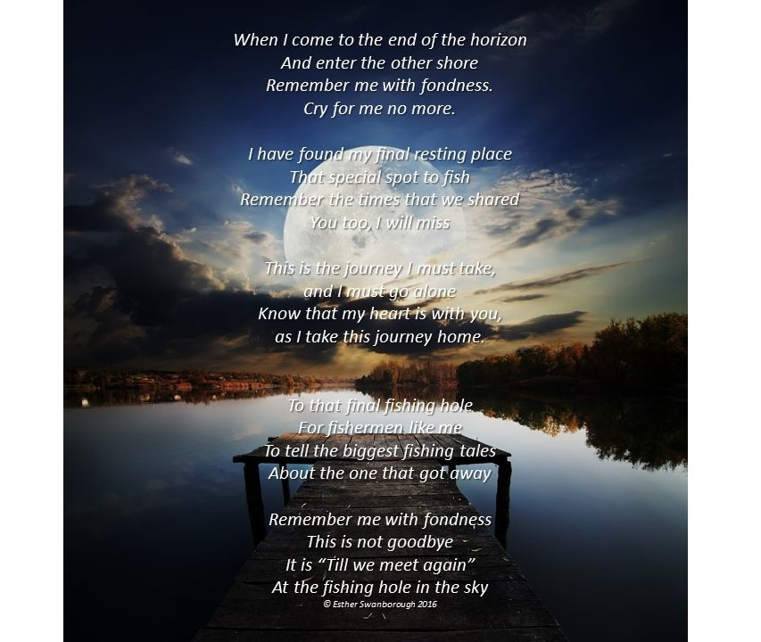 Fishing funeral poem for father funeral poems for father for Poems about fishing in heaven