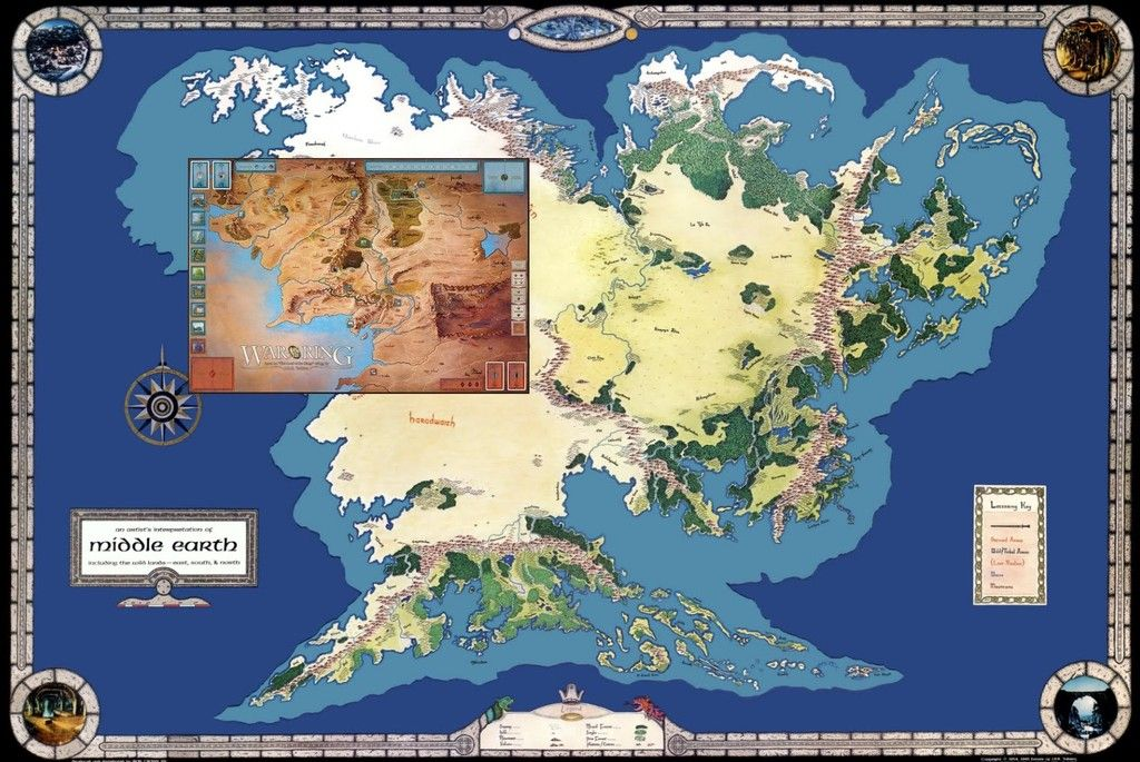 War of the Ring boardgame map in context with full Middle Earth