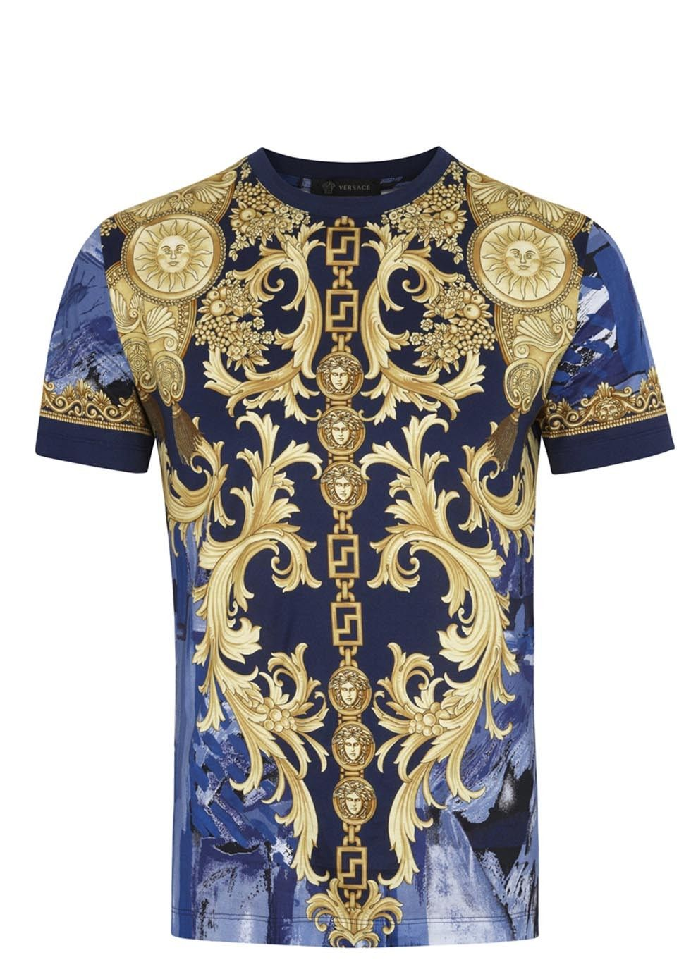 4c43093f Versace blue and gold cotton jersey T-shirt Baroque print Slips on 100%  cotton