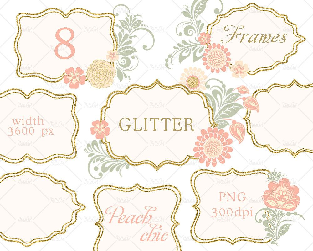 Floral Gold Glitter Clipart, Gold glitter frame, Glitter pink flower ...