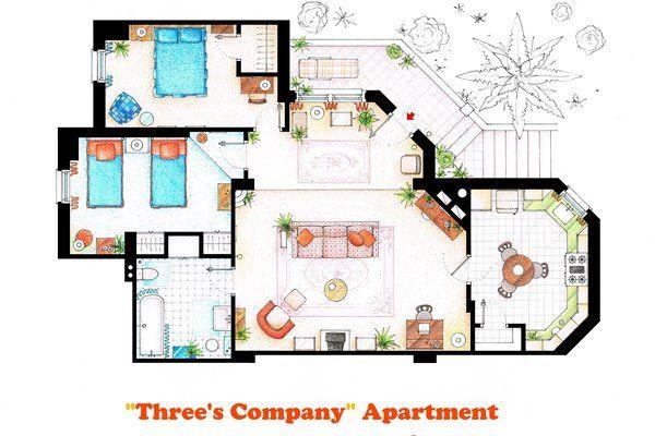 Floorplan Of Three S Company Apartment By Nikneuk Print Image Apartment Floor Plans Three S Company Floor Plans
