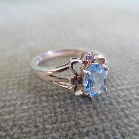 Avon Sterling Silver & Blue Topaz Ring with Pink by AvonKatVintage