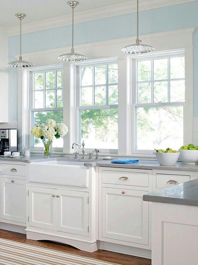 Wall Of Windows Above Kitchen Sink White Kitchen Interior
