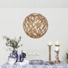 Scandinavian brown globe pendant lamp in bamboo // Lodge - Sessak