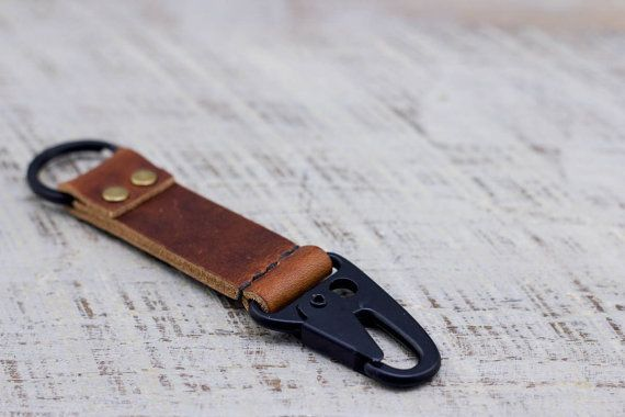 Leather Military Keychain Snap Horween Leather