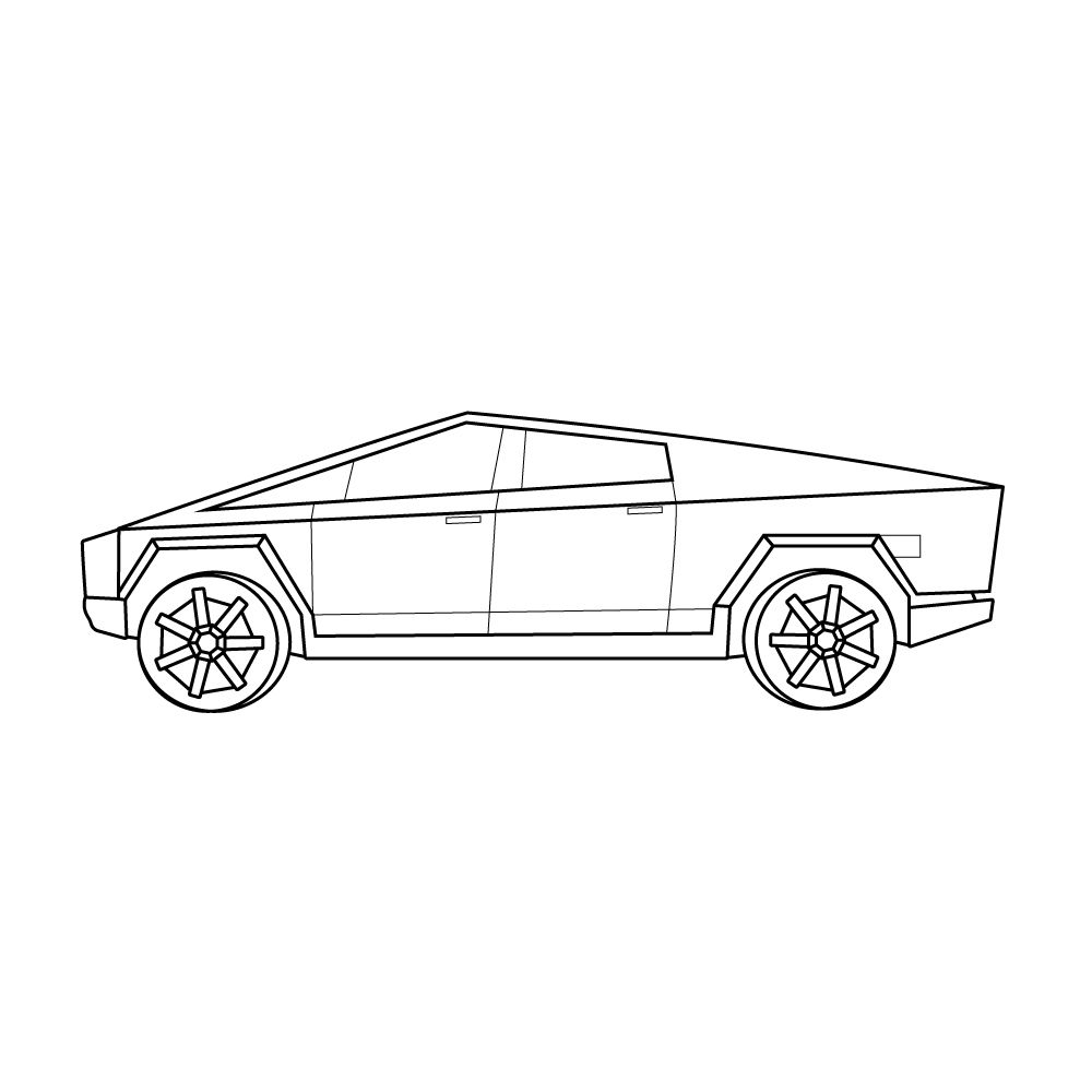 Line Drawing Of The Tesla Cybertruck Side View Line Drawing Tesla Cars Coloring Pages