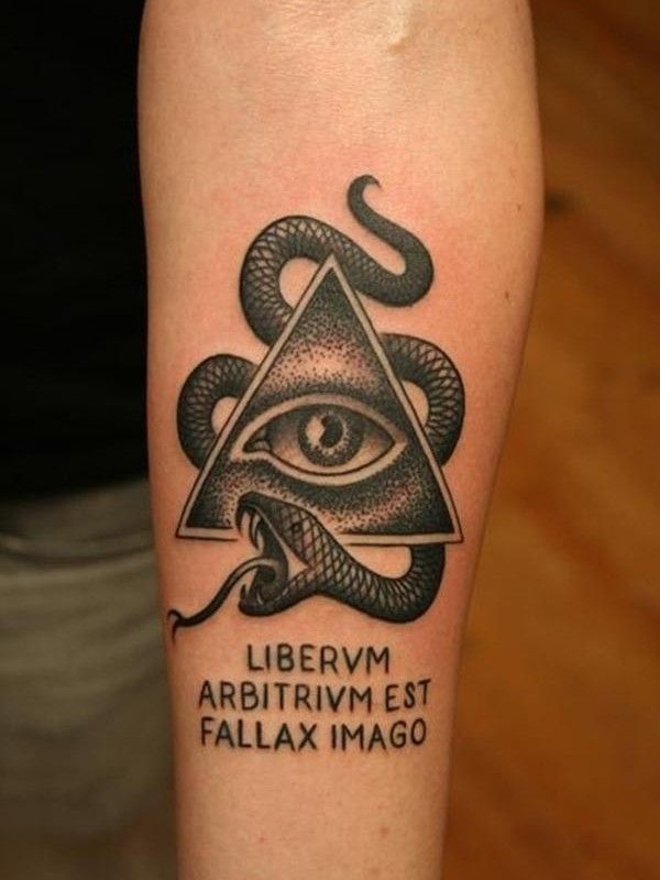 Snake And Eye Of Horus Tattoo Tattoo Ideas Illuminati Tattoo