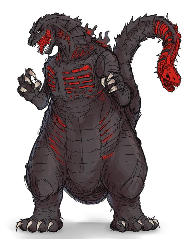 So I Drew A Fusion Of Shin Godzilla And Monsterverse Godzilla Godzilla Godzilla Godzilla Vs Lion Sculpture