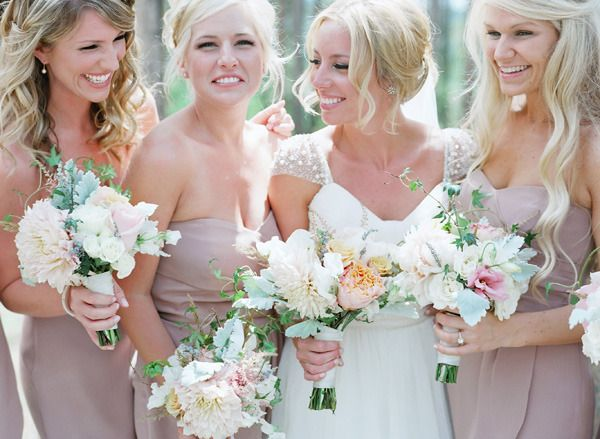 There's something about blush bridesmaids -- doesn't clash with the white gown! Also, it doesn't hurt that all these women are blonde and gorgeous.