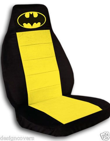 2 Cute Car Seat Covers In Black And Yellow With Batman High Quality