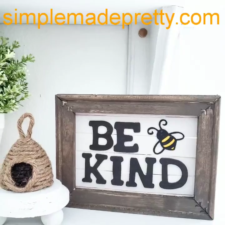 Photo of DIY Dollar Tree Farmhouse Sign, Reverse Canvas, Bee Kind, Be kind sign, Dollar Store DIY