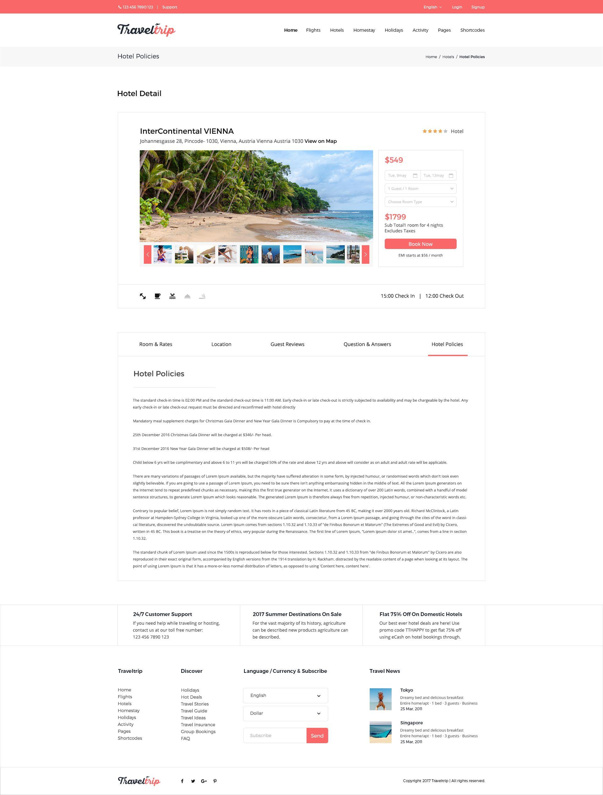 Traveltrip Travel Tour Flight Hotel Booking Psd Template