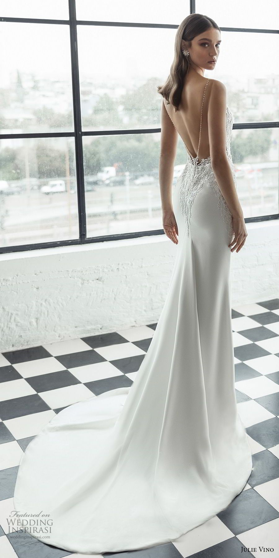Julie Vino 2019 Romanzo Bridal Sleeveless Deep Plunging Sweetheart Neckline Heavily Embellished Bodice Fit And Flare Wedding Dress Low V Back