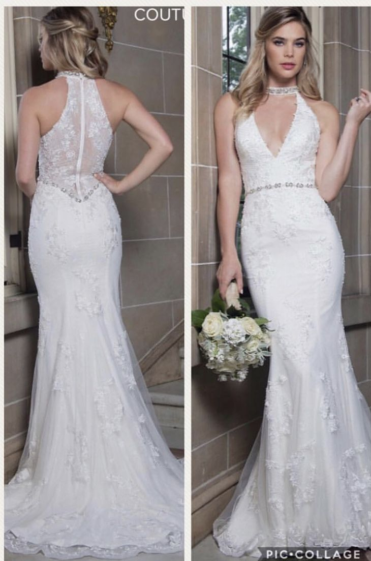 Halter V-neck with beaded choker bridal gown 💕 Color: Ivory Sizes ...