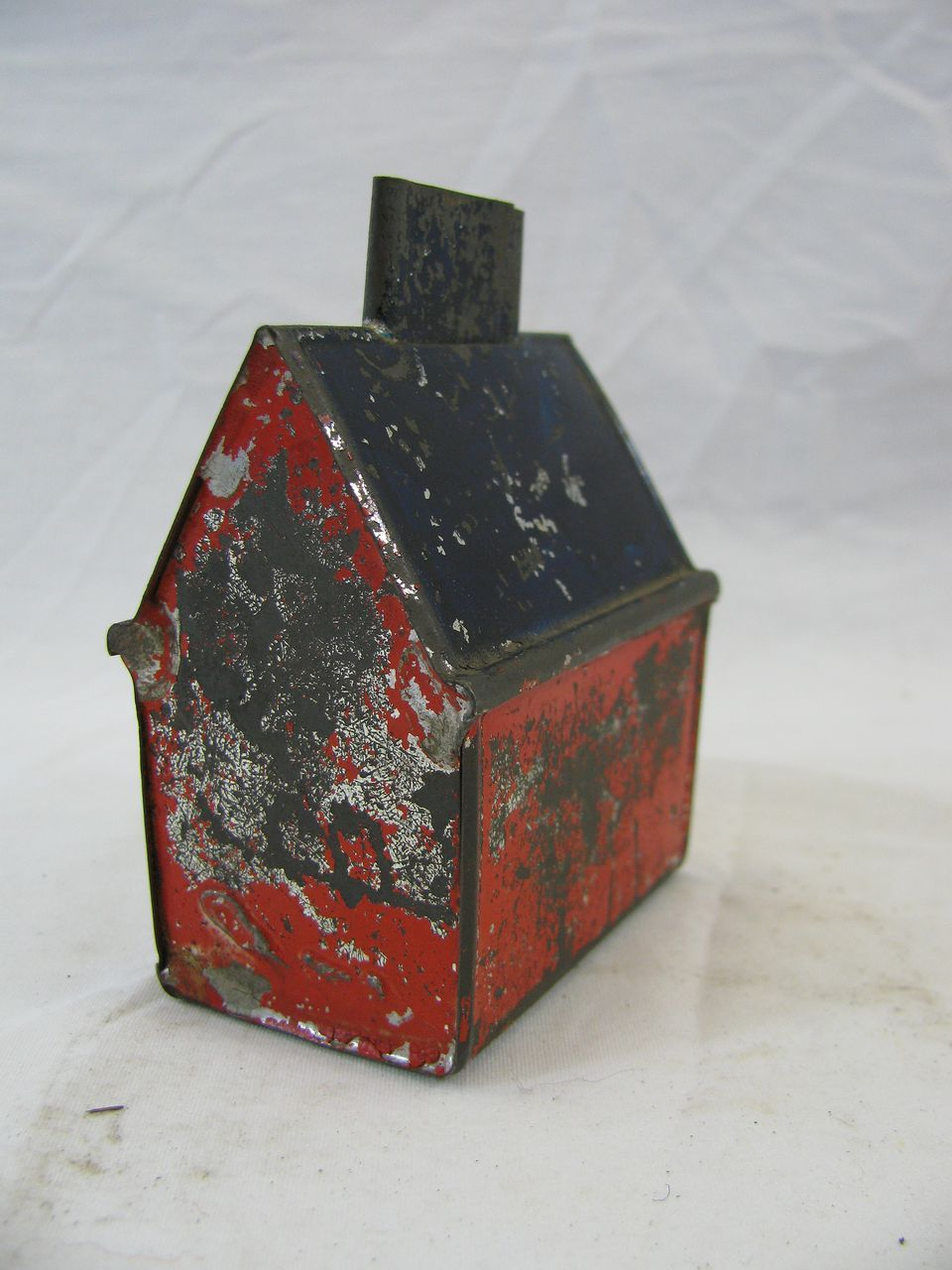 Antique George Brown Tin Painted House Bank Aab 1601b Removed Antiques Victorian Toys Tin House