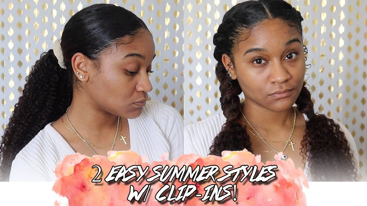 2 easy hairstyles w clipins youtube in 2020 easy