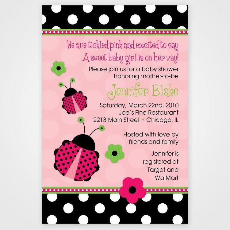 Ladybug Baby Shower Invitation Template Free Card