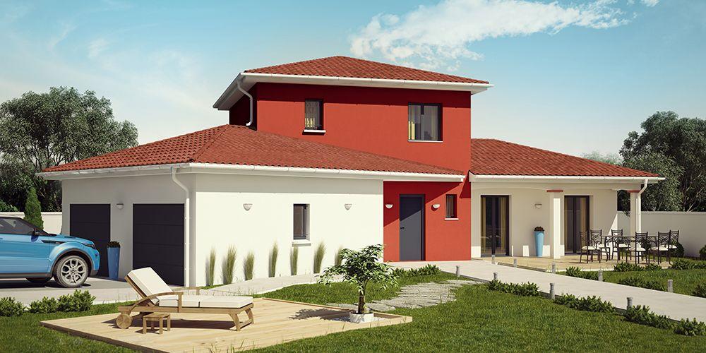 Construction Villa Moderne tikehau moderne (tuiles rouges) #construction #villa #demeure #etage
