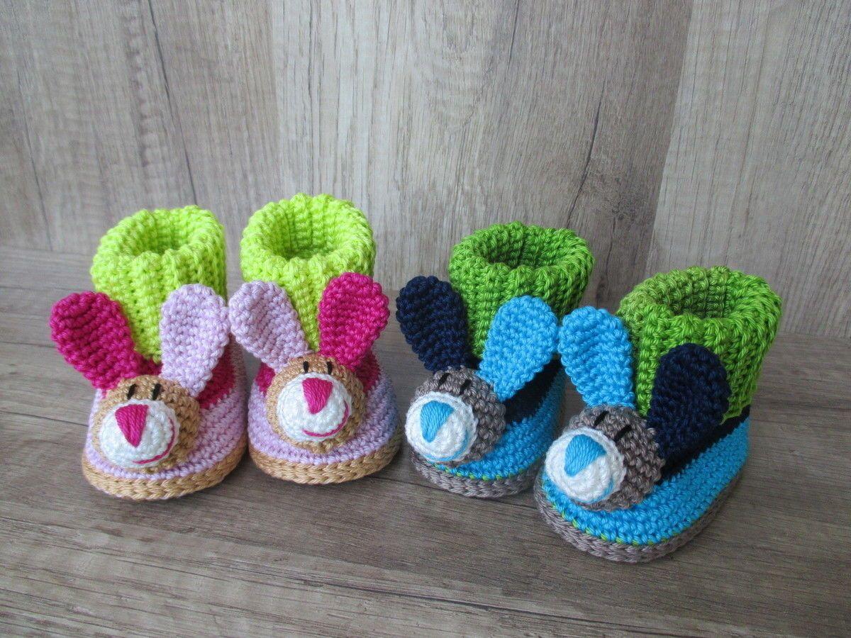 Häkelanleitung Baby-Booties Hase - 4 Größen - Häkelanleitungen bei ...