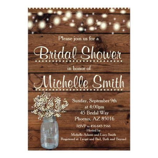 rustic bridal shower invitation, mason jar, floral card | masons, Baby shower invitations