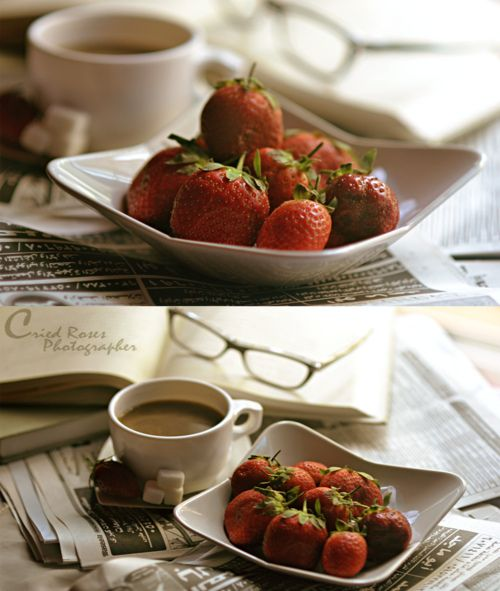 Coffee and strawberry breakfast