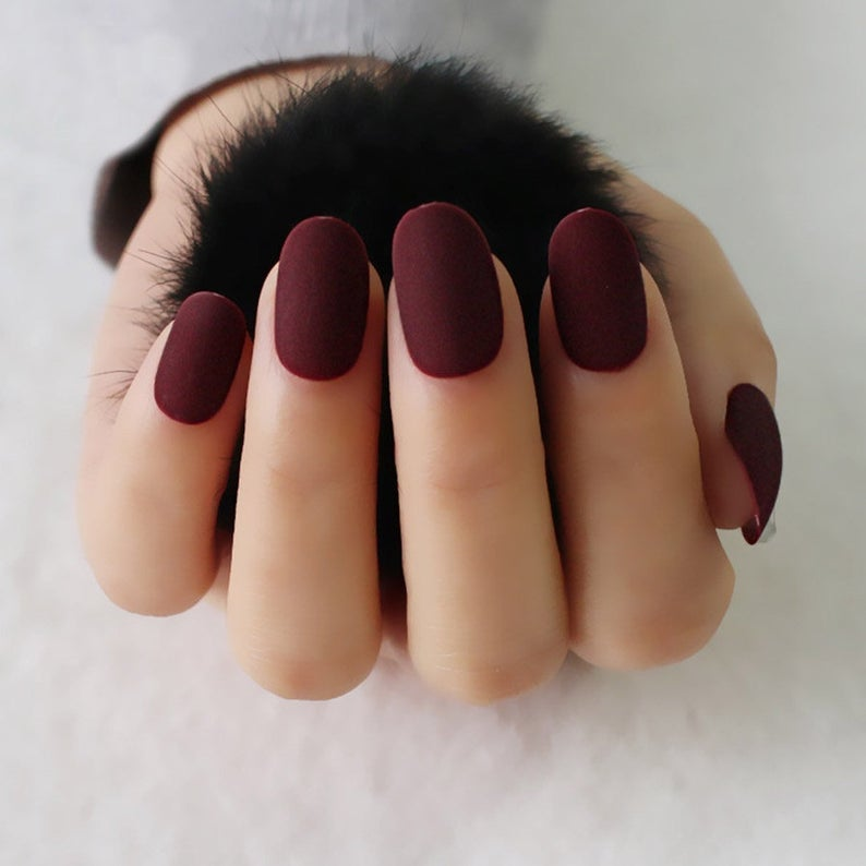 Wine Red Full Cover Matte Matte Nails Wine Red Matte Fake Nails In 2020 Red Matte Nails Dark Color Nails Matte Nails Design