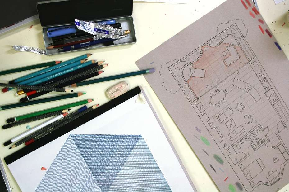Interior Design - Module One: A plan drawing of a residential interior, about to be rendered. Photo: Lisa Hall