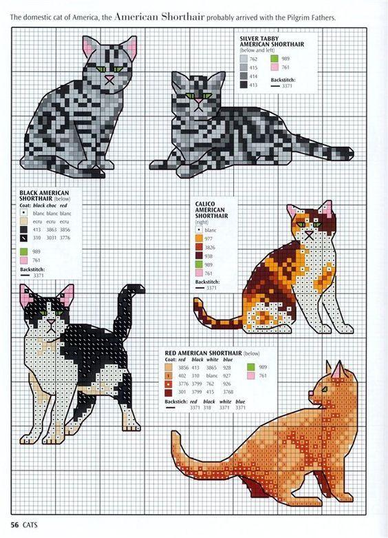 ZONA DE MANUALIDADES: Punto Cruz Gatos | bordados | Pinterest ...