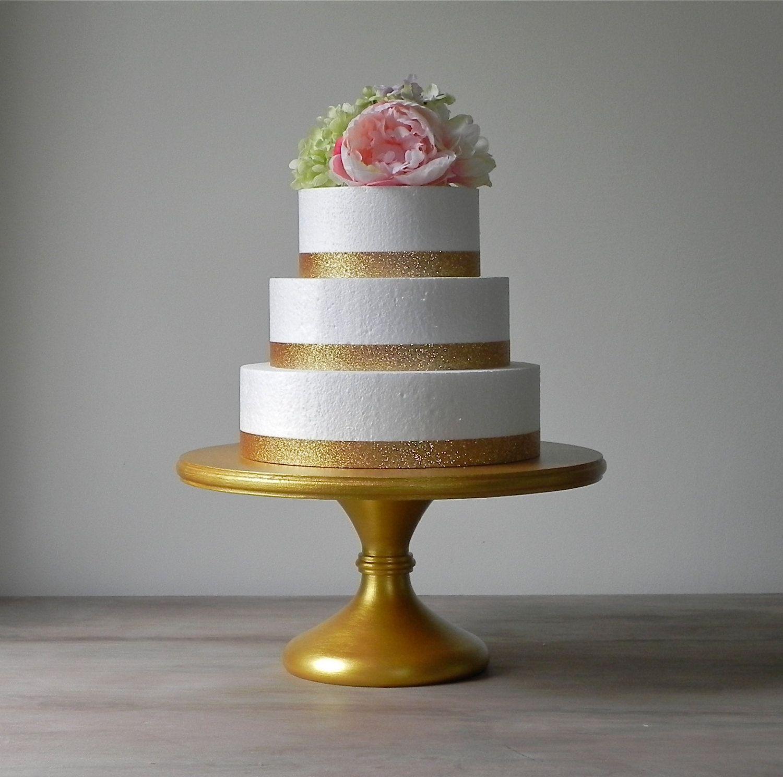 "Gold Cake Stand 16"" Wedding Cake Stand Pedestal Cake Stand Gold Cake"