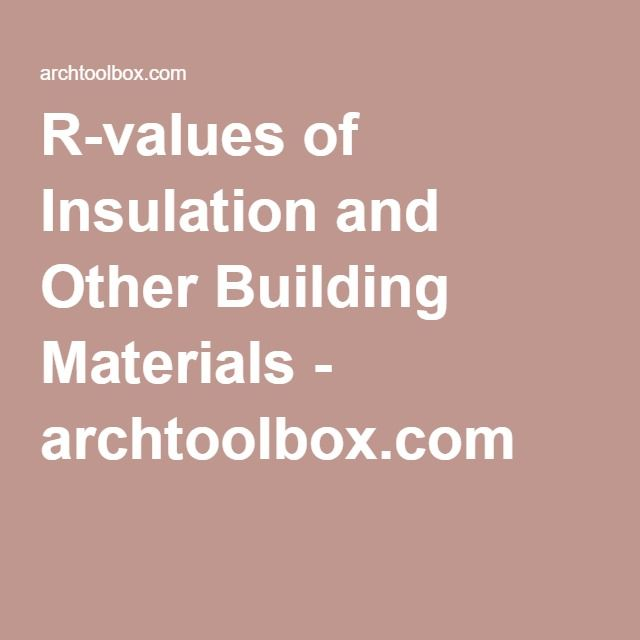 R Values Of Insulation And Other Building Materials Archtoolbox Com R Value Building Materials Insulation R Value