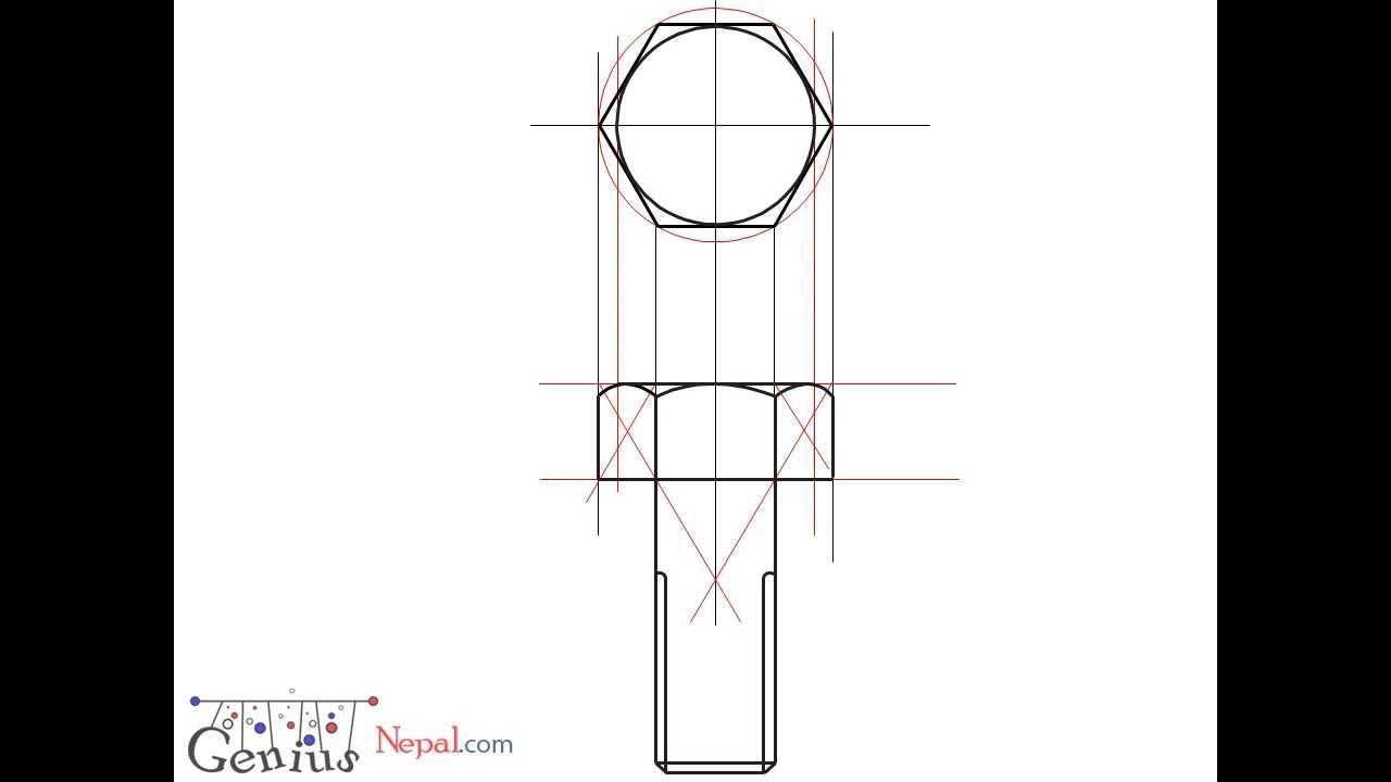 Engineering Drawing Tutorials/Assembly drawing with Front view & Side vi...