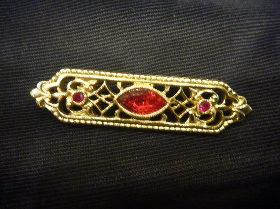 Vintage Victorian RED and GOLD BROOCH by thebink on Etsy