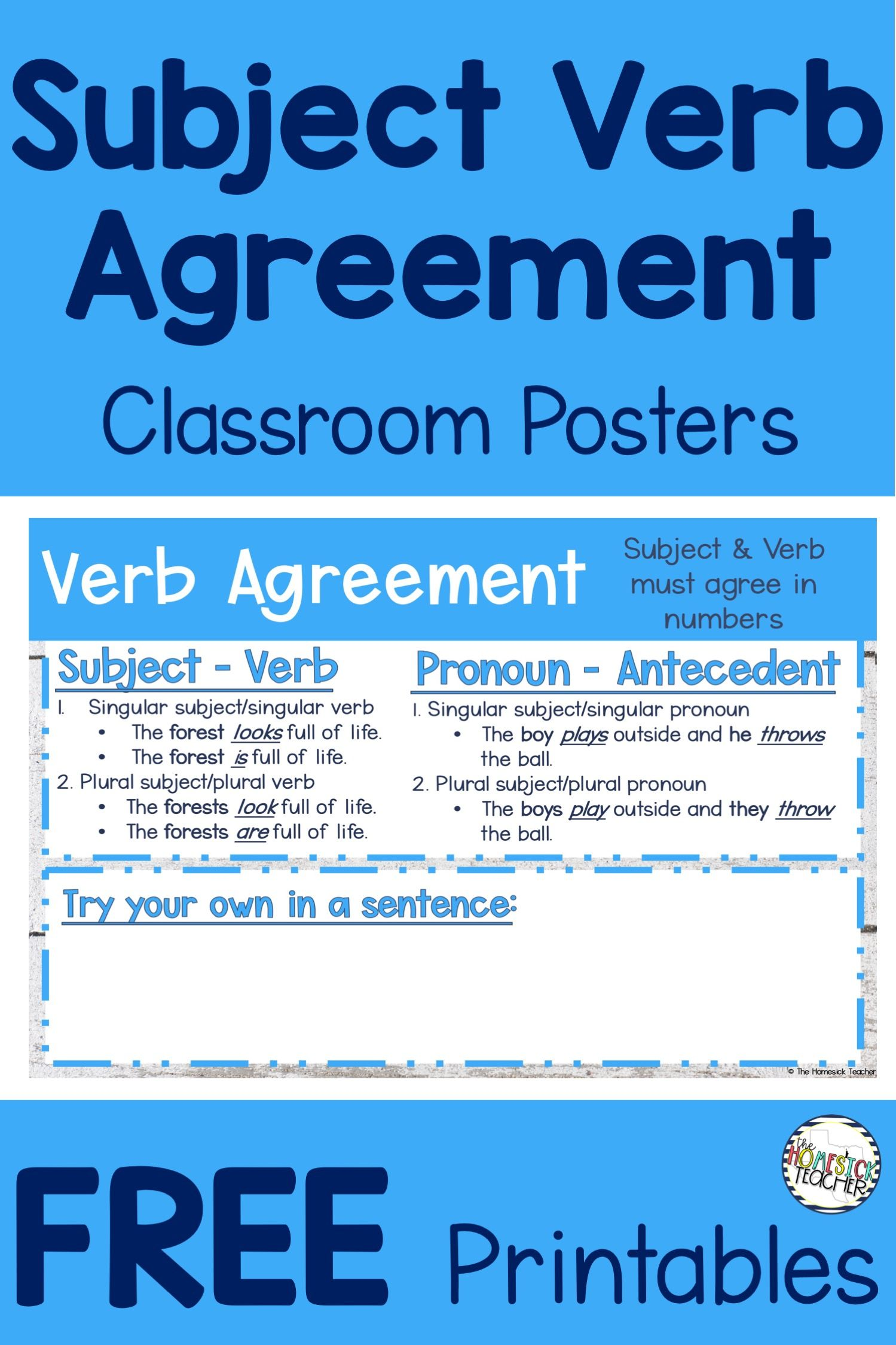 3rd Grade Grammar Free Printables Subject Verb Agreement Subject And Verb Classroom Posters Subject Verb Agreement [ 2249 x 1499 Pixel ]
