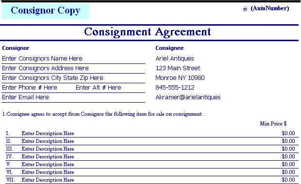 Consignment agreement form templates download free for Consignment shop contract template