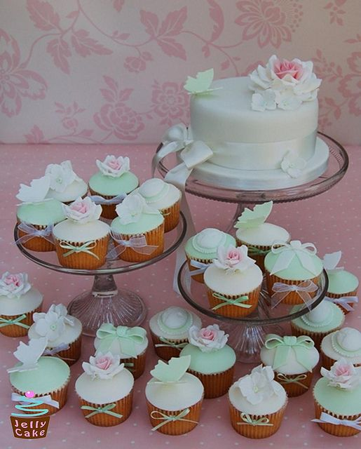 Rose Wedding Cake and Cupcakes by www.jellycake.co.uk, via Flickr