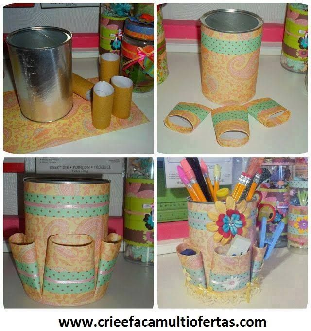 Latas y tubos de carton manualidades pinterest for Porta tubos fluorescentes