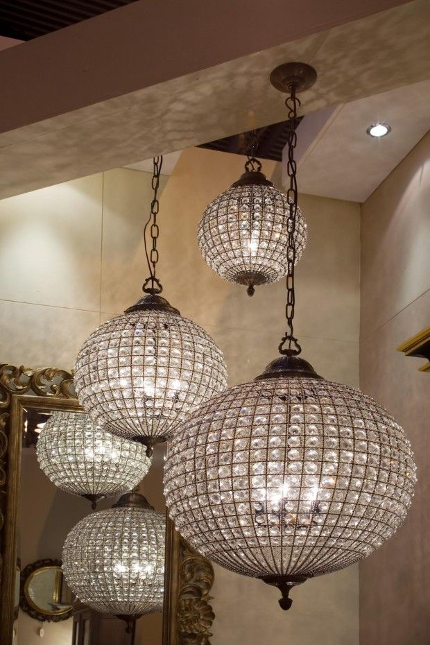 Round Crystal Chandeliers Love The Mirror At The Back Too And The Beam Art Deco Interior Design Round Crystal Chandelier Interior Deco
