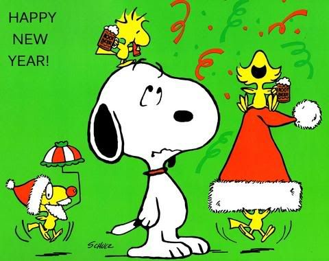 Happy New Year - Snoopy What happens when you leave four happy Woodstocks with Snoopy?
