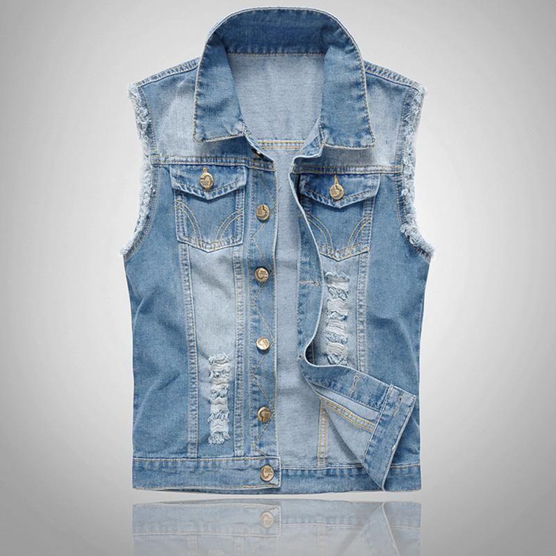 b428326d6cfe1 Fashion Men Denim Vest Sleeveless Washed Jeans Waistcoat Ripped Jacket Tops Plus  Size 6XL H9