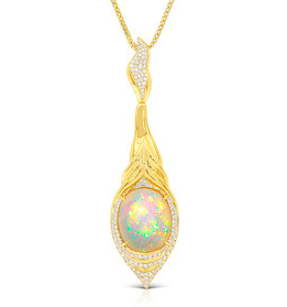 Feather Feast.  Opal Pendant by Kat Florence