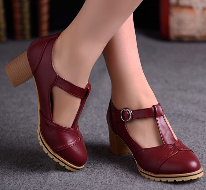 Womens Girls Cuban Heel Retro Vintage T-Strap Mary Jane Spring Shoes Plus Size  #Fashion #MaryJanes