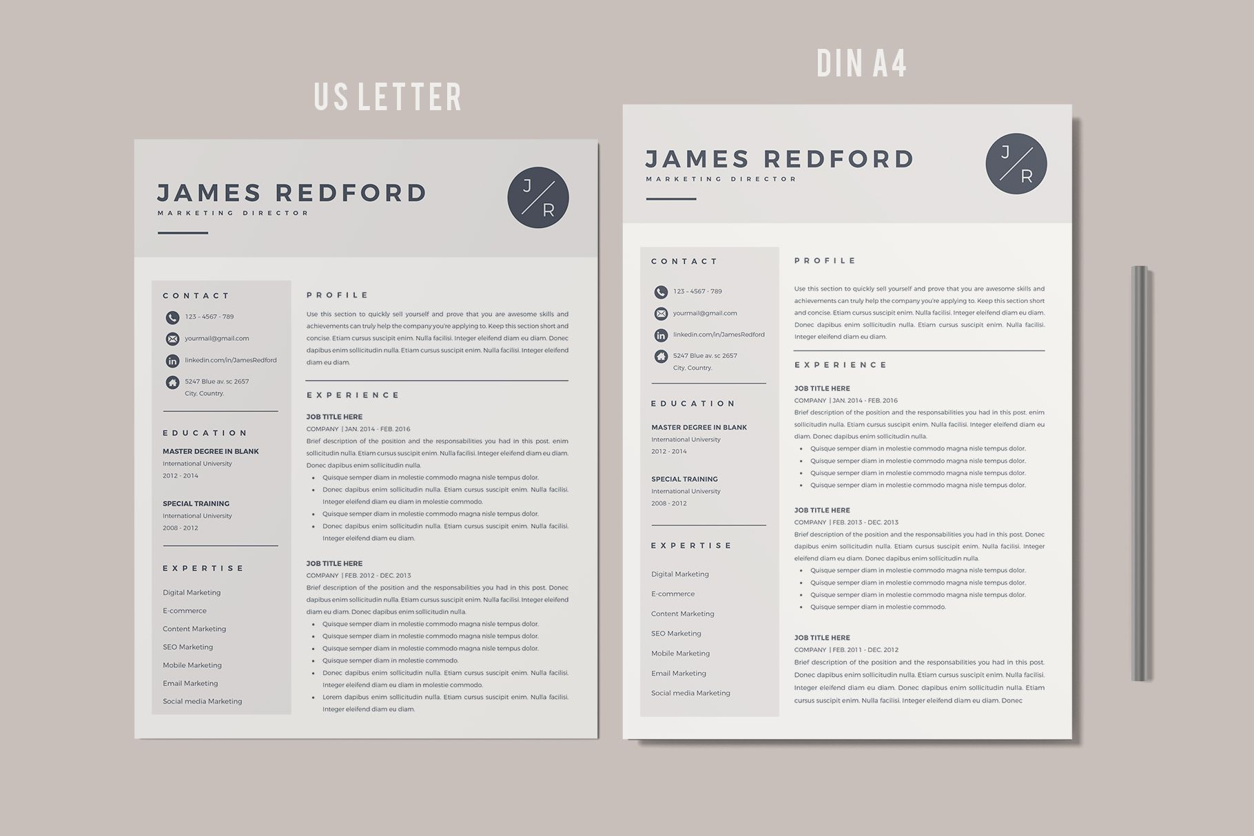 Creative Resume Templates For Ms Word And Mac Pages Professional Resume Templates And Matching C Resume Template Professional Marketing Resume Resume Template