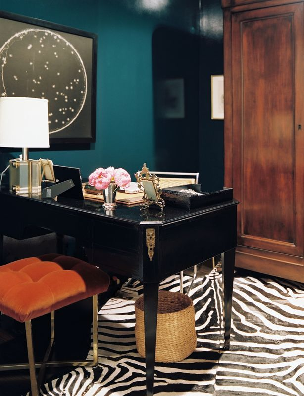 Office Teal Black Zebra Chic Office Space Home Office Design Home Decor