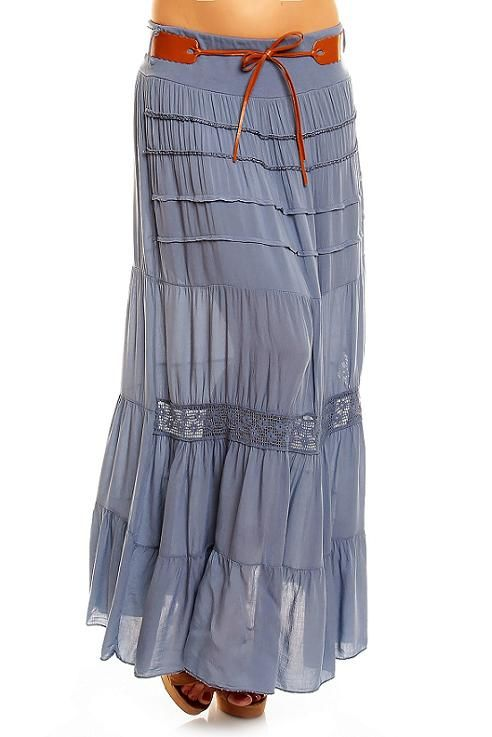 53820a7ceed621 Ibiza dames rok lang blauw Ibiza dames rok lang blauw met riem One size  (S