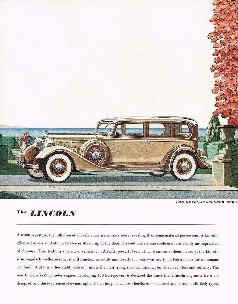 1934 BIG Vintage Lincoln 7-Passenger Sedan Car Automobile Art ...