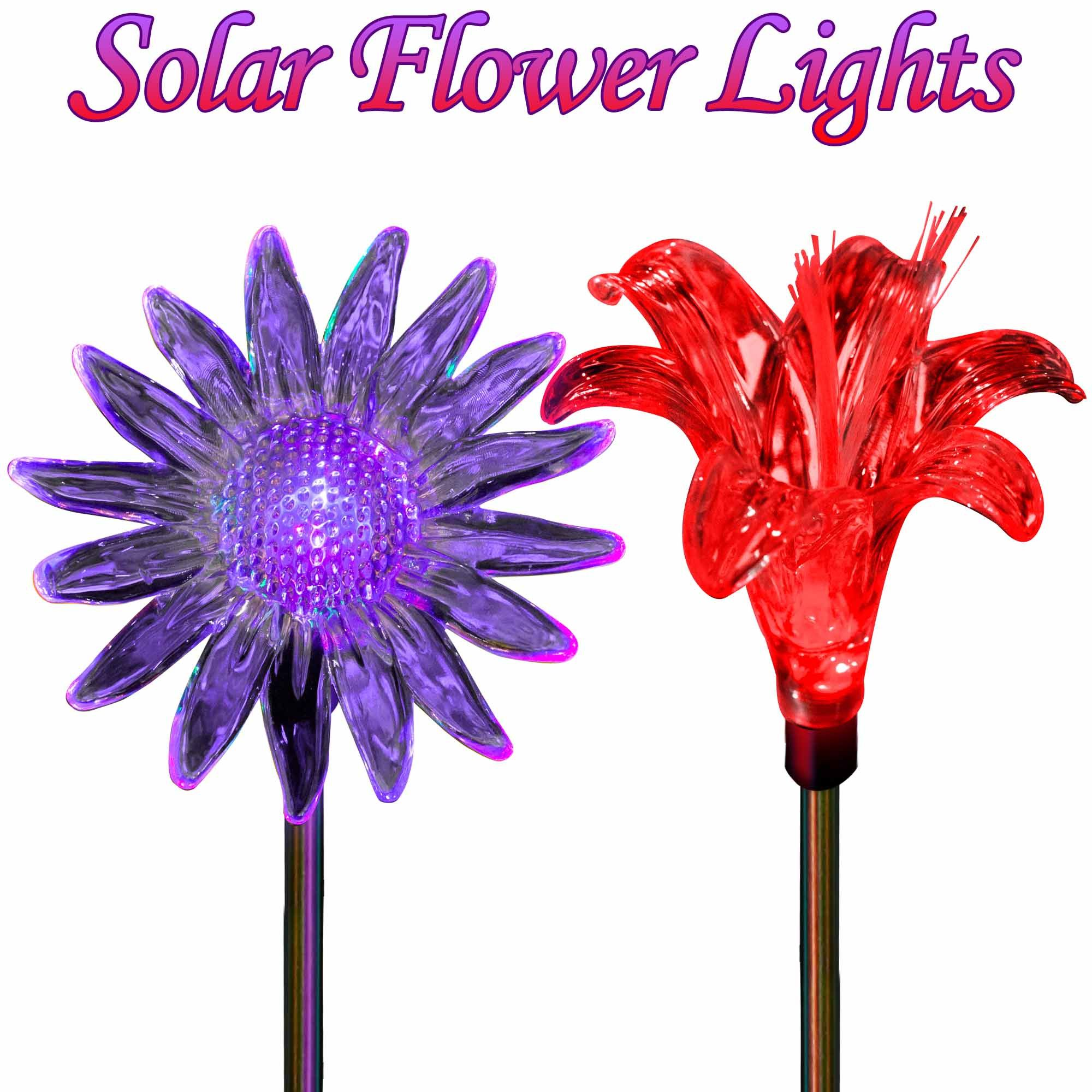 Solar Yard Lights Color Changing Sunflower & Lily Flower | Light ...