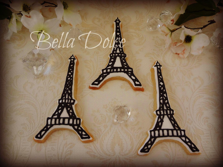"Fancy ""Ooh La La"" Eiffel Tower Cookies -1 Dozen (12 cookies) Birthday Party - Paris - Wedding Shower Favor"